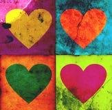 4 corazones del grunge Foto de archivo