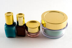 4 cosmetics bottles Stock Photo