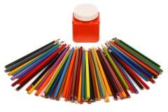 4 crayons de couleur Images libres de droits
