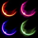 4 Crescent Moons. 4 Various Crescent Alien Moons Vector Illustration