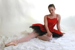 4 czerwono balerin spódniczka baletnicy Obrazy Royalty Free