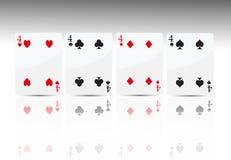 4 cztery karta grzebak Obraz Royalty Free