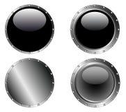 4 de beslagen Zwarte Knopen van het Web royalty-vrije illustratie
