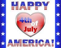 4 de julio feliz América, tarjeta de felicitación. Fotografía de archivo