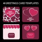4 de Kaarten van de groet: De Dag van de valentijnskaart Stock Afbeeldingen