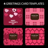 4 de Kaarten van de groet: De Dag van de valentijnskaart Stock Foto