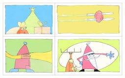 4 de Prentbriefkaaren van Kerstmis stock illustratie