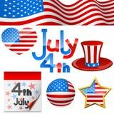 4 de symbolen van juli Royalty-vrije Stock Fotografie