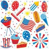 4. der Juli-Klippkunst Party-Elemente Stockbild