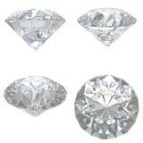 4 diamanti hanno impostato su priorità bassa bianca Immagine Stock