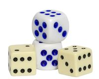 4 Dice with Clipping Path. 4 Dice On white with clipping path Royalty Free Stock Photos