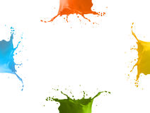 4 different colors splash Stock Photography