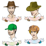 4 different men with hats Royalty Free Stock Photos