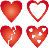 4 different red hearts Royalty Free Stock Image