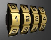 4-digit combination lock. Close view of metal 4-digit combination lock royalty free illustration