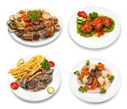 4 dishes - 2. 4 dishes with chicken, veal, pork meat and vegetables. Isolated on white. This image was composed using four different shots Stock Photography