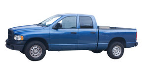 4 door blue truck. Four door blue pickup truck with diamond plate toolbox on white Stock Photography