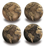 4 Dryed globes Stock Photos