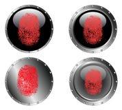 4 dubbade svarta knappar Arkivbilder