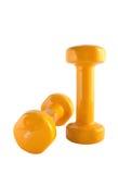 4 dumbbells kolor żółty Zdjęcia Stock