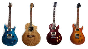 4 electric guitars isolated Royalty Free Stock Photo