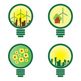 4 Environmental Light Bulbs - illustration  Stock Images