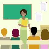 4 estudiantes que escuchan un profesor ilustración del vector