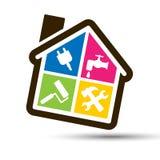 4 färgar huset för hem- bricolage. Arkivfoton