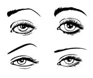 4 female eyes Stock Photos