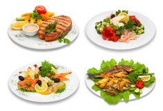 4 fish dishes stock image