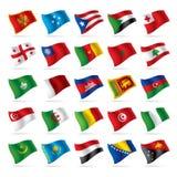 4 flaggor ställde in världen Arkivbild