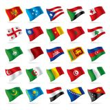 4 flagi zestaw świat Fotografia Stock