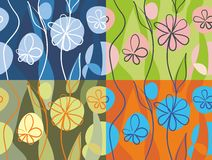 4 floral backgrounds in vector  Royalty Free Stock Photos