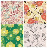 4 flower seamless pattern Royalty Free Stock Image