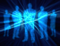 4 folk för binär siffra Fotografering för Bildbyråer