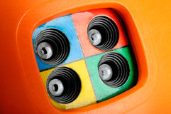 4 frame stuk speelgoed cameralens Stock Foto