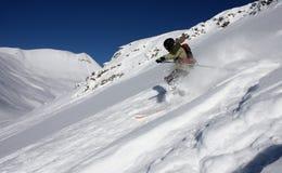 4 freeride滑雪者 免版税库存照片