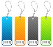 4 färger price shoppingetiketter Arkivbild