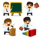 4 funny cartoon office worker set ,icons Royalty Free Stock Images