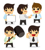 4 funny cartoon office worker set ,icons Royalty Free Stock Photos