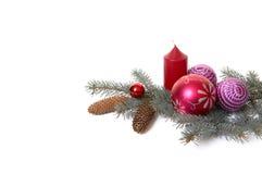 4 gałęziastych bożych narodzeń dekoracj jedlinowy drzewo Fotografia Royalty Free