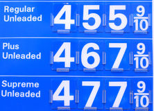 $4 Gas Prices. Gas prices sign reading prices pass $4.50 in the US Stock Images