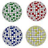 4 geïsoleerdes discoballen, Royalty-vrije Stock Foto