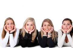 4 girls on the floor royalty free stock images