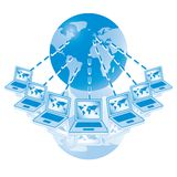 4. Global Computer Network in blue. Rasterized Royalty Free Stock Images