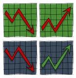 4 gráficos con la flecha Imagen de archivo