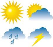 4 graphismes de temps : ensoleillé, obscurci, pluie et foudre Photographie stock libre de droits