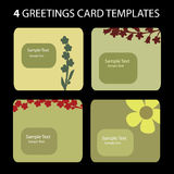 4 Greeting Cards. Colorful greeting card set: nature, flowers Royalty Free Stock Photos