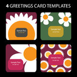 4 Greeting Cards. Colorful greeting card set: nature, flowers Royalty Free Stock Image