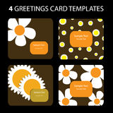 4 Greeting Cards. Colorful greeting card set: nature, flowers Royalty Free Illustration